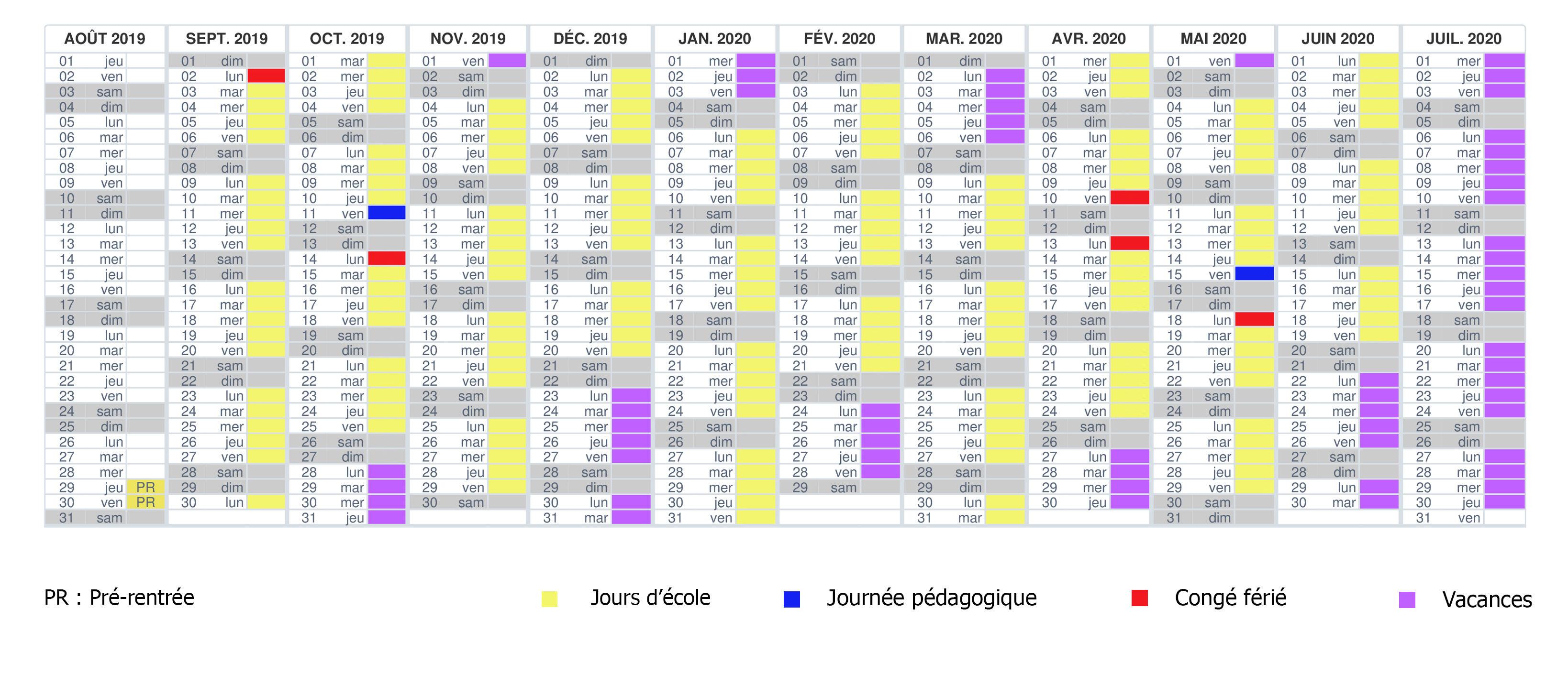 Calendrier Pedagogique.Calendrier Scolaire Lycee Claudel L Ecole Francaise